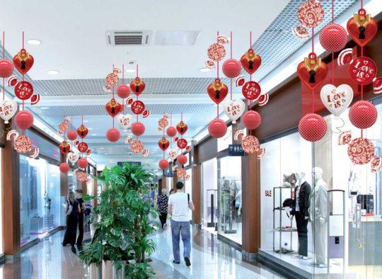 Décoration Saint-Valentin pour Centre Commercial
