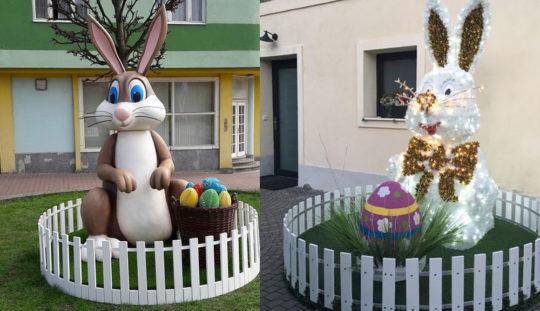 Lapins géants décor de Pâques